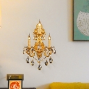 Candle Living Room Wall Lamp Traditional Metal 3 Heads Gold Sconce Light Fixture with Teardrop Crystal Decoration