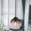 Nordic Oval Hanging Lamp Kit Smoke Gray Dimpled Glass 1 Light Baby Room Pendant Light Fixture
