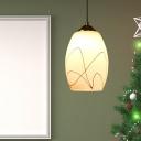 Tulip Hanging Light Fixture Simple Style White Glass 1 Head Black Pendant Ceiling Light