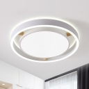 White Drum Ceiling Flush Light Nordic Style Metal Bedroom Led Close to Ceiling Light in Warm/White, 16