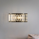 Clear Crystal Half Cylinder Wall Lighting 1 Light Contemporary Wall Mounted Lamp in Black/Gold