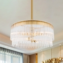 Clear Crystal Pipe Hanging Chandelier Contemporary 6 Lights Ceiling Pendant Light in Brass Finish for Living Room