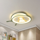 Green Racket Shade Flush Ceiling Light with Badminton Pattern Kids Acrylic LED Ceiling Lamp, Warm/White Light