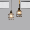 Bird Cage Pendant Lamp Metal Industrial 1 Light Ceiling Lamp Pendant in Black over Table