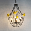 4 Lights Ceiling Pendant Vintage Candle Metal Chandelier Lighting in Black for Restaurant with Cage