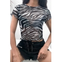 Unique Girls' Short Sleeve Crew Neck Zebra Patterned Stringy Selvedge Semi-Sheer Black Mesh Fitted Crop Top