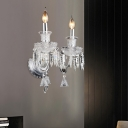 Clear Glass Candle Wall Mount Light Modernism 1/2 Heads Sconce Light Fixture with Crystal Drop