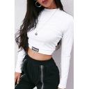Basic White Long Sleeve Crew Neck Letter HONEY Print Cotton Slim Fit Crop T Shirt for Ladies