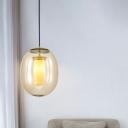 Oval Pendant Lamp Modernism Amber Glass 1 Head Gold Hanging Light Fixture, 7