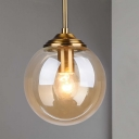Globe Bedroom Pendant Lighting Amber/Clear/Smoke Gray Glass 1 Head Modernism Hanging Ceiling Light