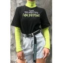Girls' Cool Street Long Sleeve High Neck Letter I AM PSYCHO Double Layered Contrast Flared T-Shirt in Black