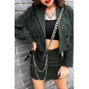 Fashion Girls' High Waisted Plaid Pattern Chain Embellished Slit Bodycon Mini Skirt in Green