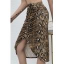 Sexy Ladies' High Waist Snake Print Drawstring Slit Tight Midi Skirt in Brown