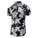 Mens Simple White Floral Printed Short Sleeves Single Breasted Black Hawaii Shirt