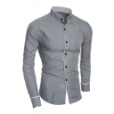 Metrosexual Men's Plain Leisure Banded Collar Long Sleeves Button Front Simple Shirt