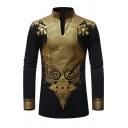 Tribal Style Gilding Printed Mandarin Collar Sexy V Neck Vintage Shirt without Button