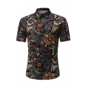 Mens Vintage Floral Pattern Turndown Collar Short Sleeves Non-Ironing Black Fitted Shirt