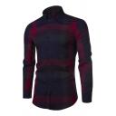 Fall Stylish Color Block Plaid Printed Long Sleeve Lapel Collar Button Down Cotton Shirt