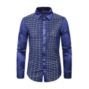 Mens Glitter Fashion Solid Color Long Sleeve Single Breasted Slim Fitted Stage Shirt for Club