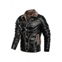 Mens Warm Faux Fur Lined Long Sleeve Single Breasted Black PU Leather Jacket