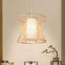 Asian Geometric Pendant Lighting with White Inner Shade 1 Light Hand Knit Hanging Ceiling Light in Wood, 14