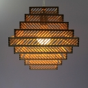 1 Bulb Tiered Hanging Ceiling Light Chinese Style Wooden Pendant Lighting for Living Room