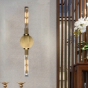 2 Heads Sconce Light Retro Style Tubular Metallic Wall Lamp in Black/Brass with Clear Glass Shade