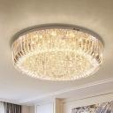 Modern Drum Flush Mount Light Fixture Clear Faceted Crystal Living Room LED Ceiling Light in Warm/White/3 Color Light