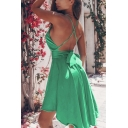 Women's Sexy Plain Sleeveless Hollow Back Pleated Short A-Line Cami Dress for Party