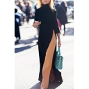 Elegant Trendy Ladies' Three-Quarter Sleeve High Neck High Slit Side Maxi Column Dress in Black