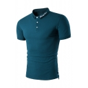 British Style Simple Plain Cyan Short Sleeve Button Decoration Fitted Polo Shirt