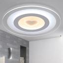 White Heart Design Ceiling Lamp Modern LED Ultrathin Acrylic Flush Mount in Warm/White/Inner Warm Outer White Light