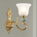 Bell Bedroom Wall Light Fixture Classic Style Opal Glass and Metal 1/2-Light Gold Wall Lighting with Ceramic Deco