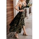 Unique Ladies' Sleeveless Deep V-Neck Bow Tie Waist Hollow Back Camo Print Asymmetric Pleated Maxi Flowy Dress in Army Dress
