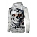 Mens Casual Terrible Skull 3D Printed Long Sleeve White Drawstring Hoodie
