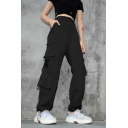 Women's Plain Street Mid Rise Utility Buckled Cuffed Full Length Oversize Cargo Trousers