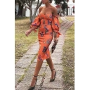 Glamorous Orange Puff Sleeve Off The Shoulder Floral Printed Split Back Midi Sheath Gown Dress for Ladies