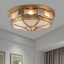 Colonialism Scalloped Ceiling Mount Light Fixture 3/5 Bulbs Milk Glass Flush Mount Chandelier in Brass for Bedroom