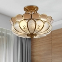 Brass 4 Lights Semi Flush Mount Lighting Colonialism Curved Frosted Glass Scalloped Ceiling Mounted Light for Dining Room