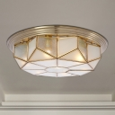Cream Glass Octagonal Ceiling Lighting Colonial 6 Heads Living Room Flush Mount Fixture in Brass