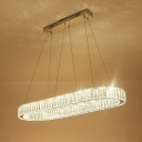 Chrome Oval Hanging Ceiling Light Simple Tri-Sided Crystal Rod LED Chandelier Light, 27.5