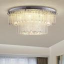 2 Layers Crystal Rod Ceiling Light Fixture Modern Nickel LED Flush Mount Light for Living Room