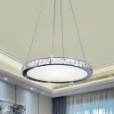 LED Ceiling Chandelier Contemporary Round Crystal Suspension Pendant in Nickel for Living Room