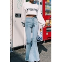 Ladies' Stylish Mid Rise Frayed Cuffs Slim Fit Stretchy Full Length Asymmetric Flared Jeans in Light Blue