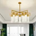 Gold Beaded Chandelier Lighting Fixture Modern 8/10 Lights LED Crystal Hanging Pendant for Living Room