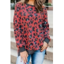 Women's Fashion Leopard Pattern Crew Neck Long Sleeve Side Split Leisure Pullover Sweatshirt