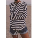 Womens Simple Stripe Printed Long Sleeve Drawstring Hem Casual Sports Hoodie with Pocket