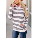 Gray Stripes Printed Glove Long Sleeve Slim Fit Casual Drawstring Hoodie for Women
