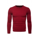 Mens Casual Plain Long Sleeve Slim Fit Outdoor Sports Sweatshirt Knitted Sweater