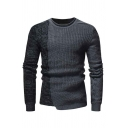 Mens Casual Fashion Long Sleeve Round Neck Colorblock Panel Slim Fit Gray Knitted Pullover Sweater